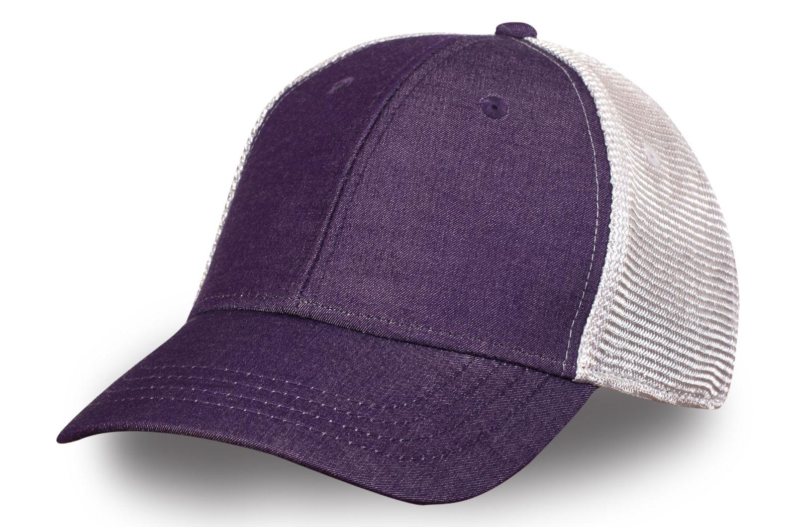Бейсболка фиолетовая с белой сеткой