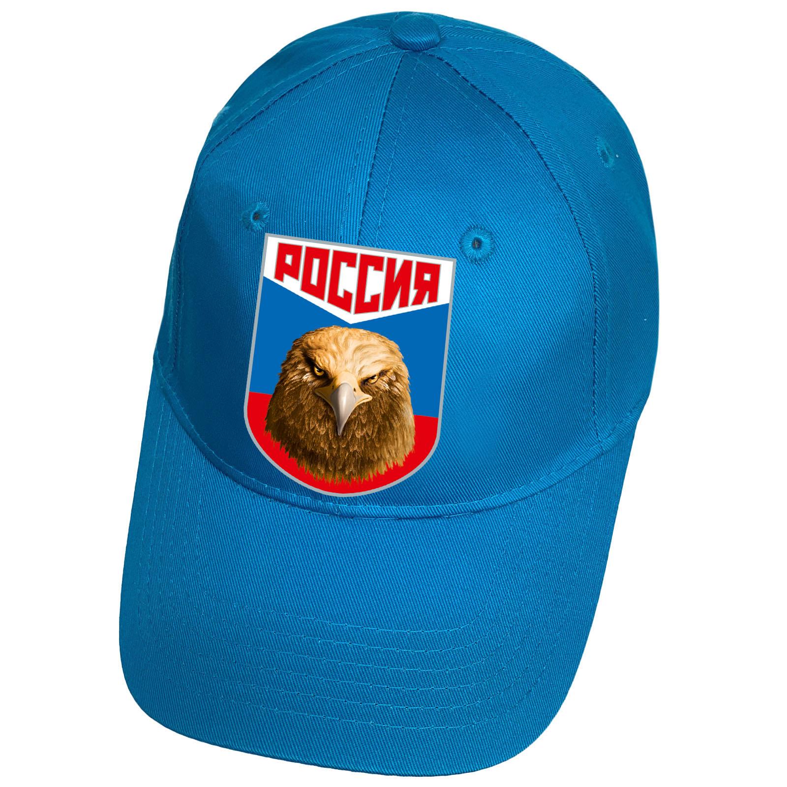 Бейсболка голубая с термоаппликацией Россия