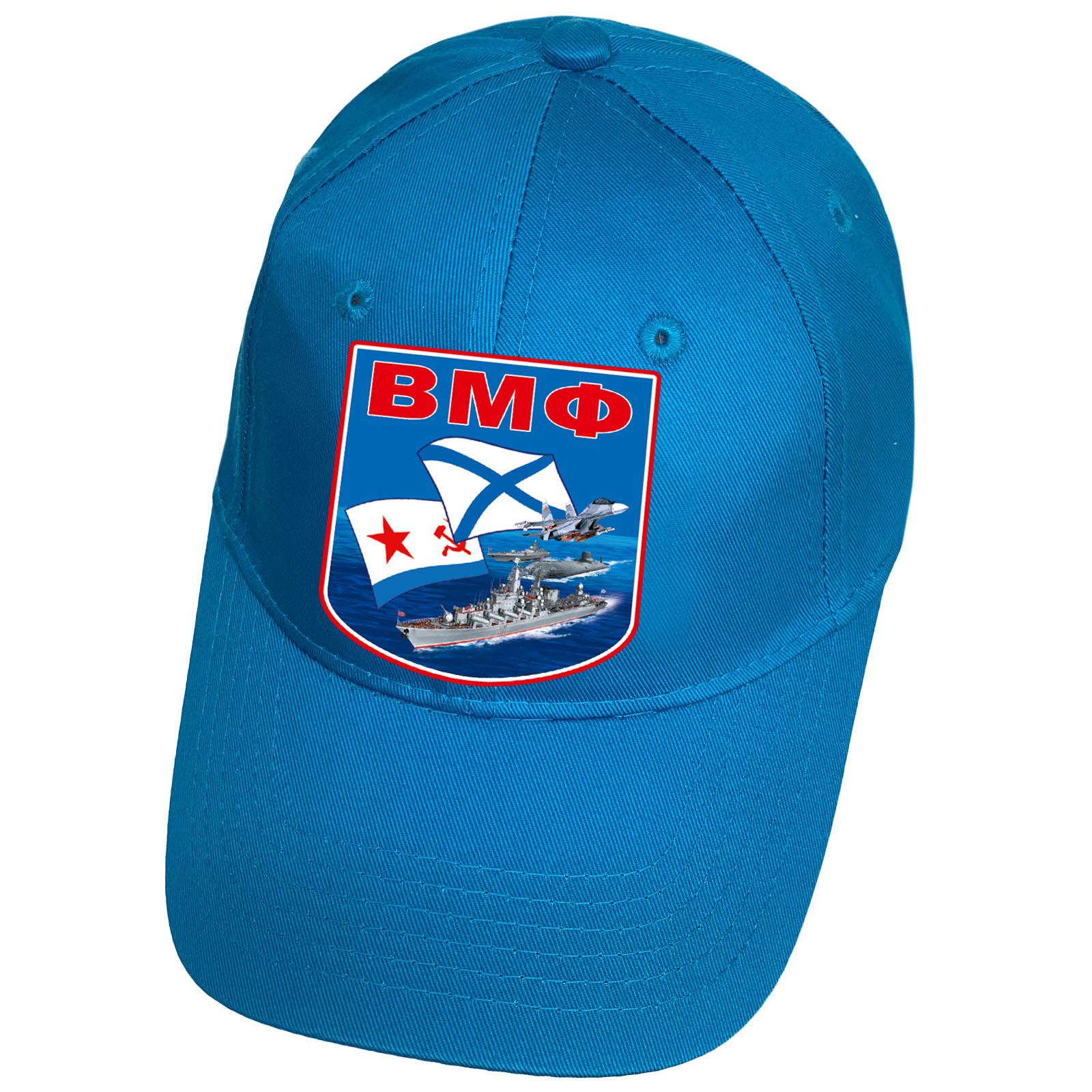 Бейсболка голубая с термоаппликацией ВМФ