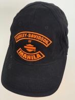 Бейсболка Harley-Davidson с оранжевой вышивкой на черном фоне