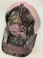 Бейсболка камуфляж Bass Pro Shops с розовой сеткой и вышивкой