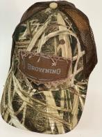 Бейсболка камуфляж Browning с коричневой сеткой и нашивкой