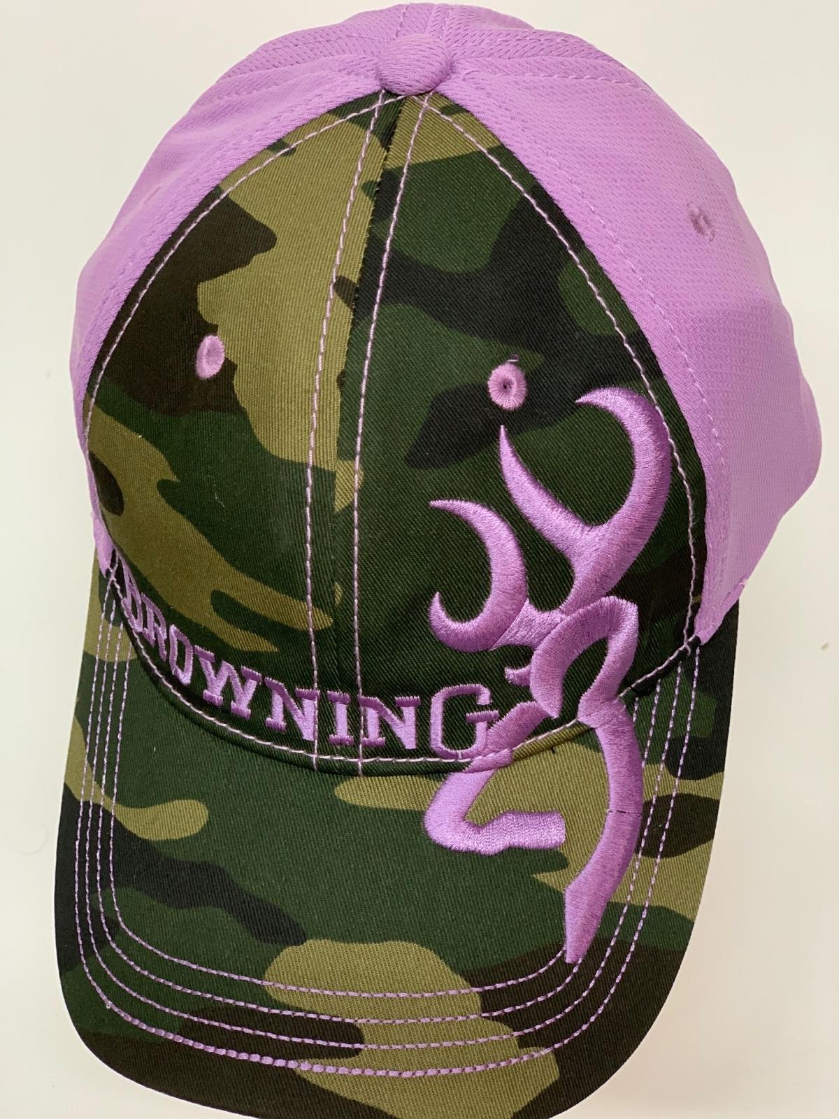 Бейсболка камуфляж  Browning с крупной сиреневой вышивкой