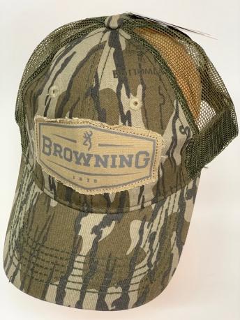 Бейсболка камуфляж Browning с сеткой цвета хаки и нашивкой