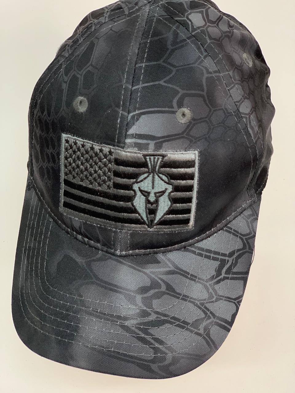 Бейсболка камуфляж Kryptek черного цвета с вышивкой