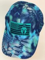 Бейсболка камуфляж Kryptek синего цвета с голубой вышивкой