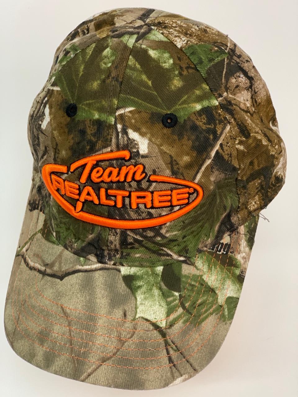 Бейсболка камуфляж Realtree с вышивкой оранжевого цвета