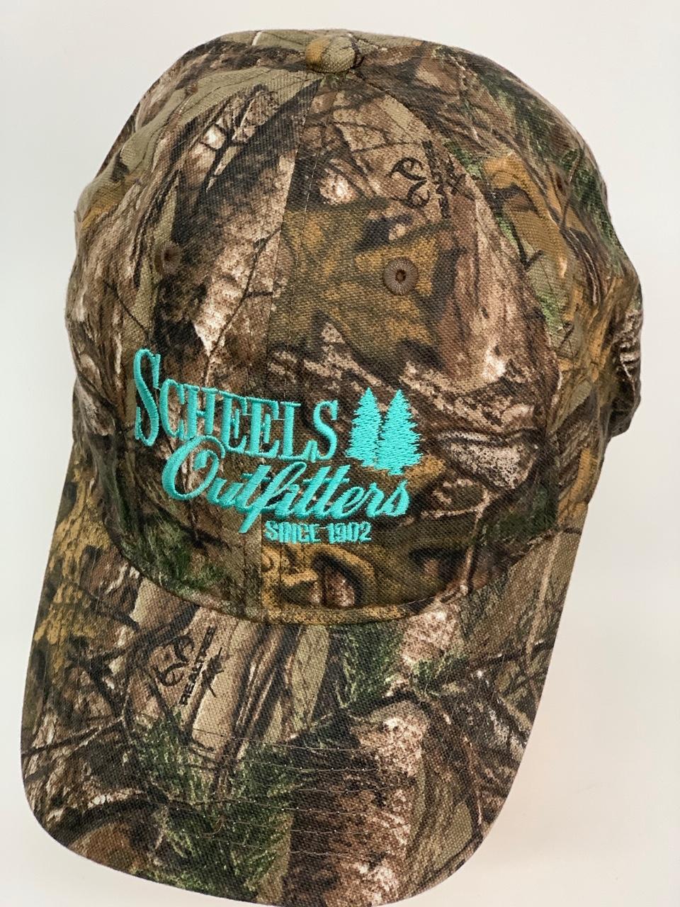 Бейсболка камуфляж Scheels Outfitters с голубой вышивкой