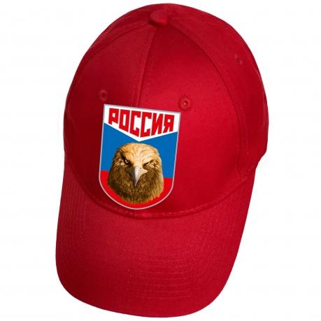 Бейсболка красная с термотрансфером Россия