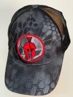 Бейсболка Kryptek с черной сеткой и красной эмблемой
