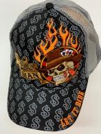 Бейсболка Let It Ride с черепом и языками пламени