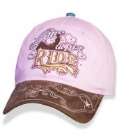 Женская розовая бейсболка с ажурной вышивкой Love at First Ride.