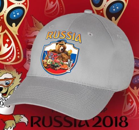Авторская бейсболка «Русский Медведь на фоне флага России»