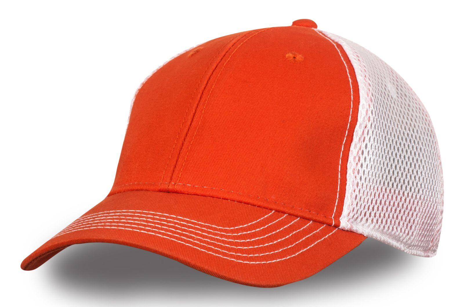 Бейсболка оранжевая с белой сеткой - купить по лучшей цене