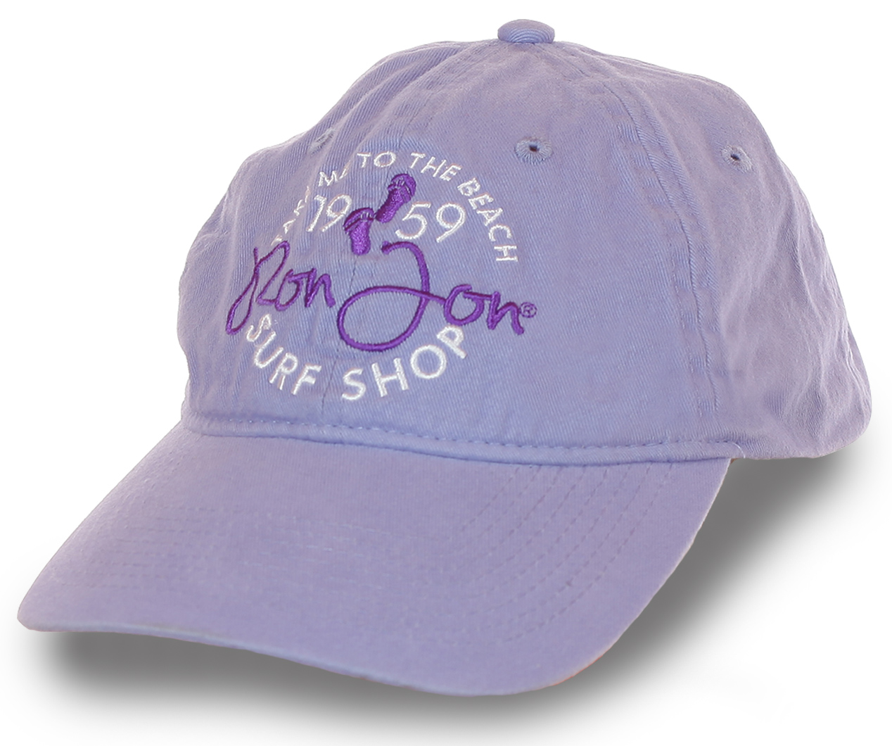 Бейсболка Ron Jon Surf Shop – летний тематический дизайн, мега популярная сёрф-тема, пастельно-лиловый цвет. Твоя стильная защита от солнца!