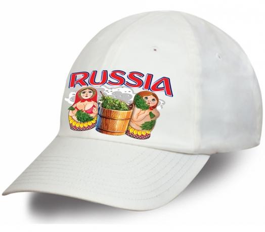 Бейсболка РОССИЯ с принтом «Матрёшки в баньке»