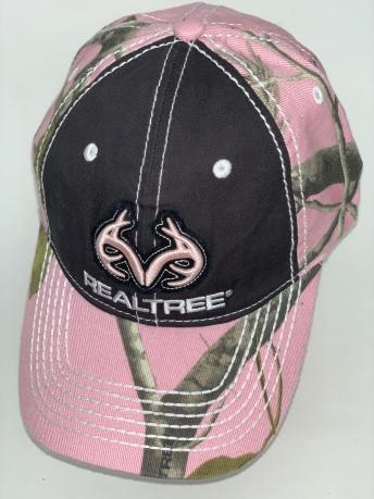 Бейсболка розовый камуфляж Realtree с черной тульей