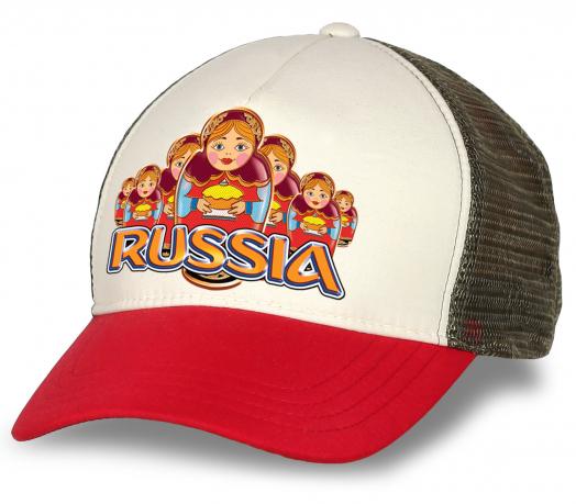 """Бейсболка """"Russia матрешки"""" с уникальным дизайнерским принтов. Современная модель с сеткой - мечта болельщика и патриота. Скорее заказывай!"""