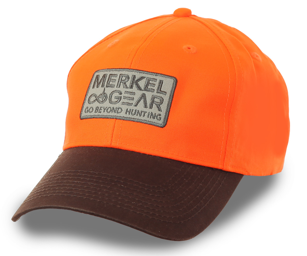 Яркая бейсболка с логотипом MERKEL GEAR – компании, которая четко представляет, каким должно быть идеальное охотничье снаряжение