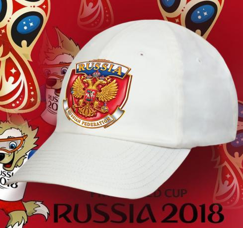 Белая бейсболка с российской государственной символикой