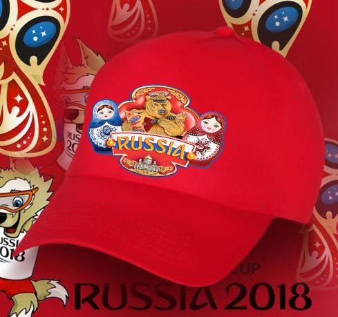 Ярко-красная бейсболка с Русским Медведем,