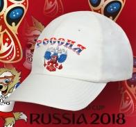 Белоснежная бейсболка с триколорным гербом РФ