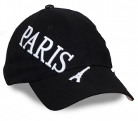 Модная чёрная бейсболка с объемной вышивкой PARIS