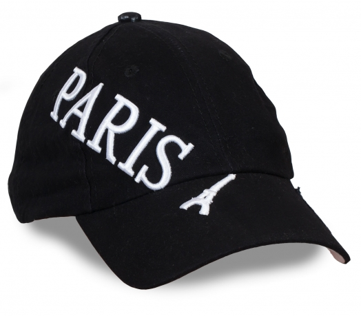 Новая ФИЛОСОФИЯ СТИЛЯ! Модная чёрная бейсболка с объемной вышивкой PARIS – будет круто смотреться с любой одеждой из твоего гардероба