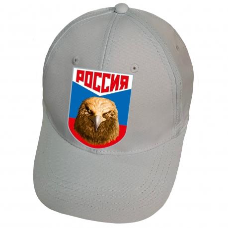 Бейсболка серая с термотрансфером Россия