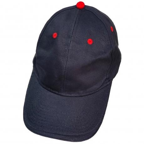 Бейсболка темно-синего цвета с красными люверсами