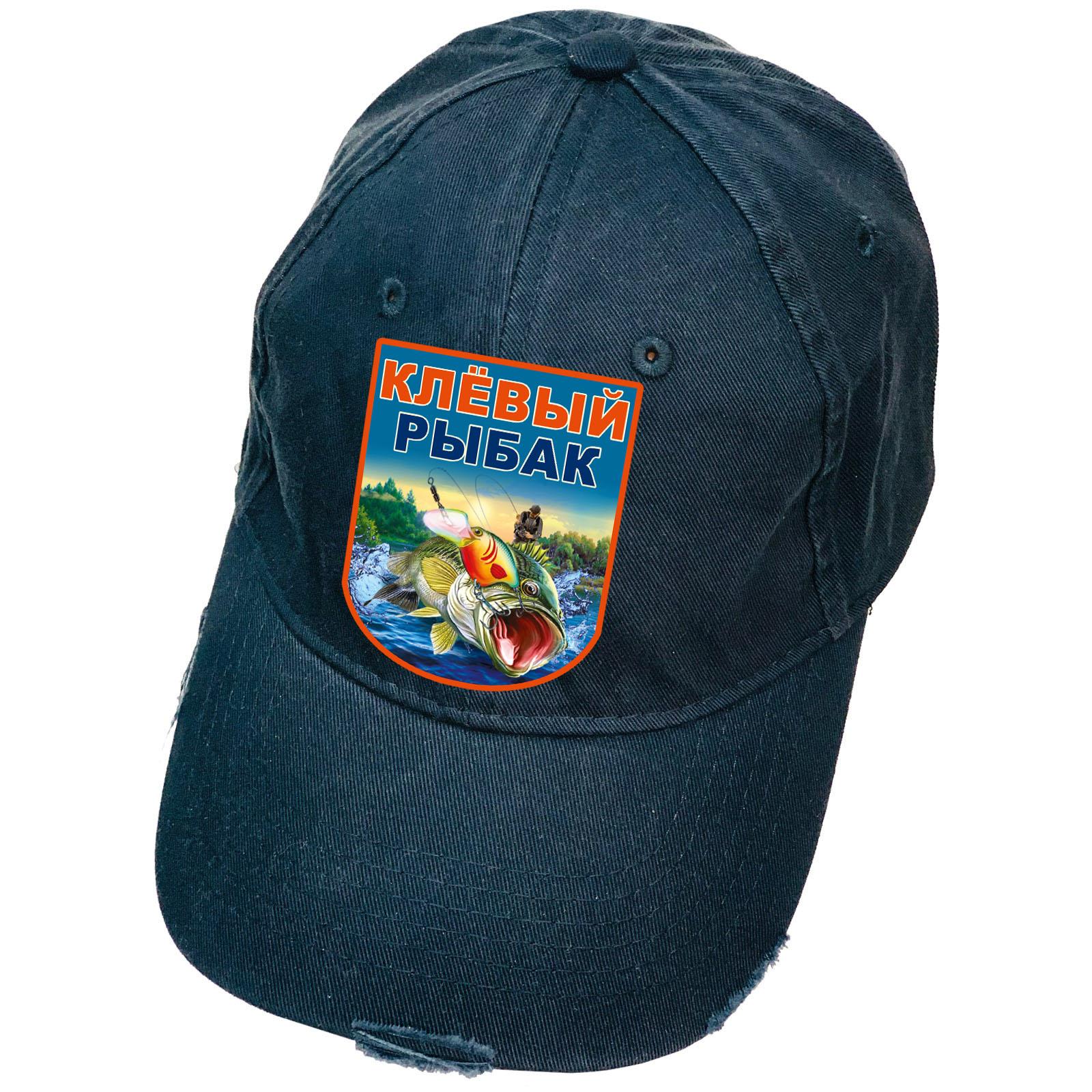 Бейсболка темно-синяя с термотрансфером Клевый Рыбак