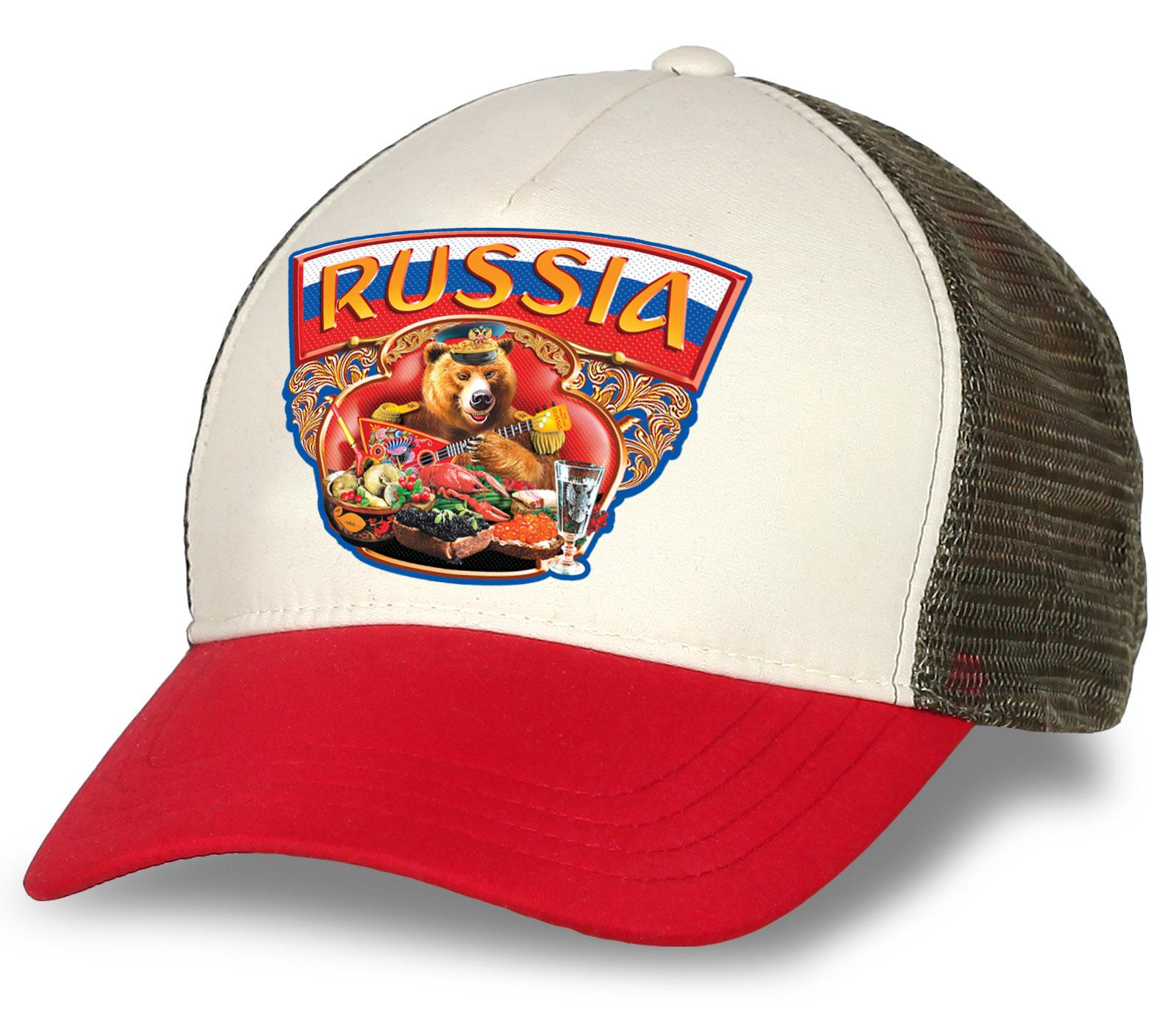 """Бейсболка-трекер """"Russia"""" с национальным бурым медведем. Оригинальная модель, которая понравится патриотам и болельщикам. Заказывайте смело!"""