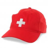 Красная бейсболка в стилистике флага Швейцарии
