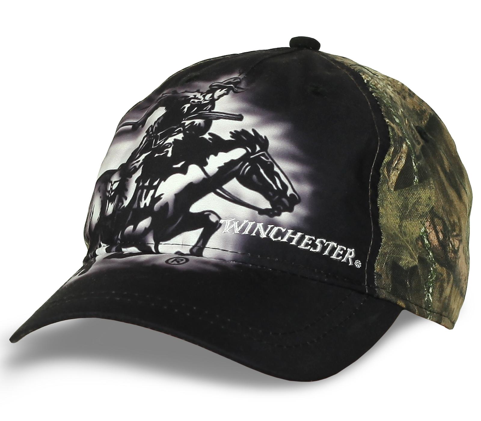 Бейсболка Winchester вышитая для охоты. Камуфляж.