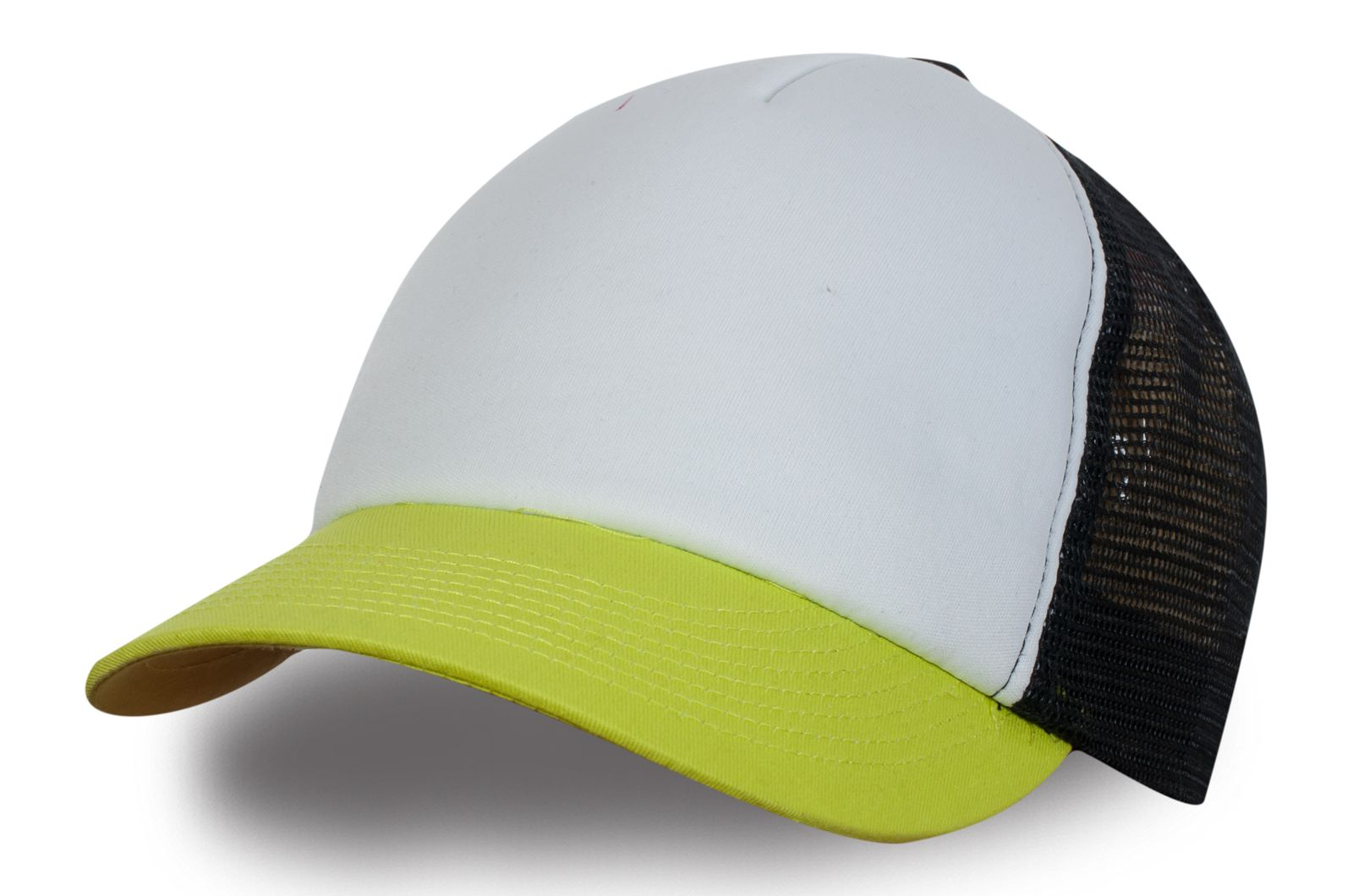 Бейсболка жёлто-белая с чёрной сеткой