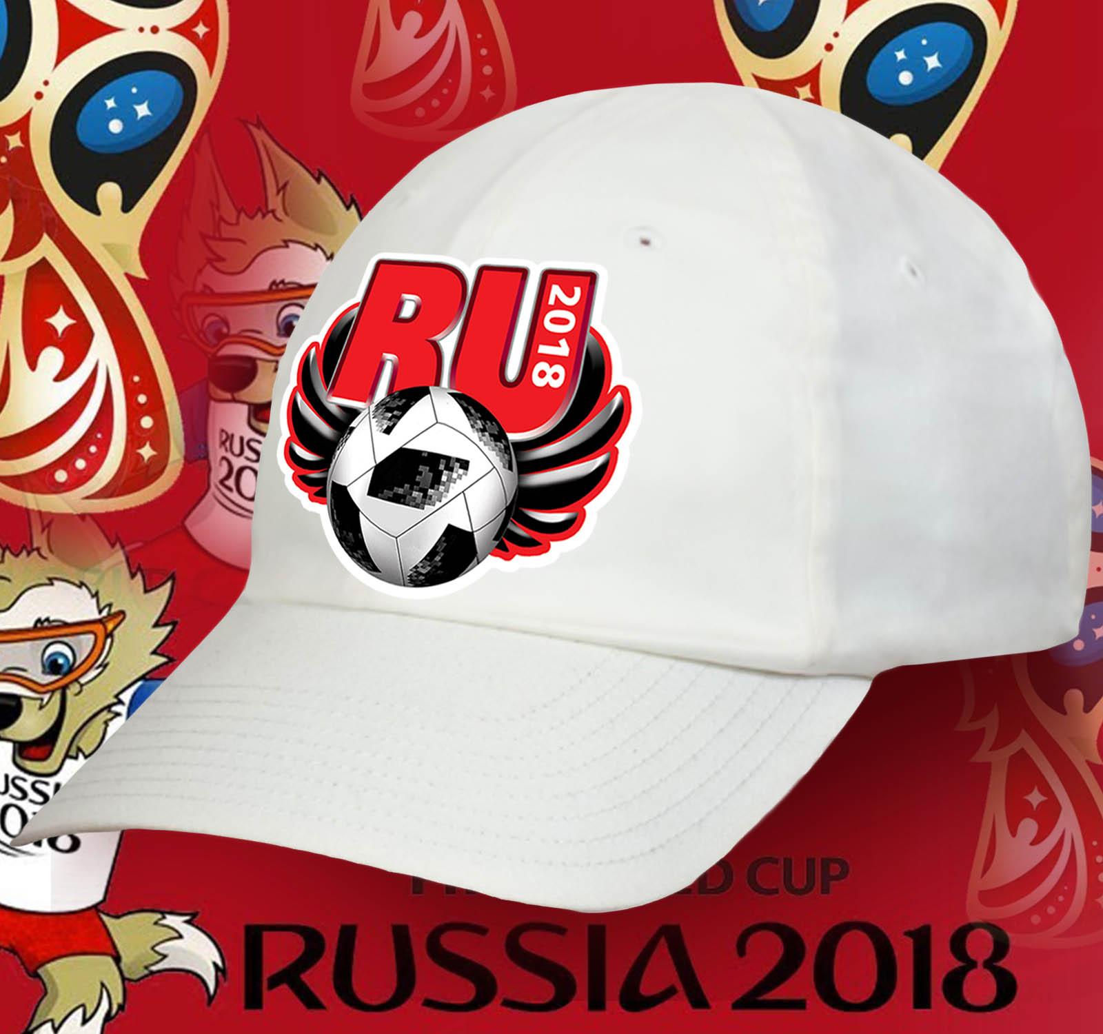 Белая бейсболка Ru-2018.