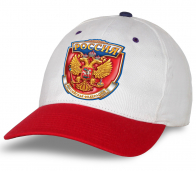 """Белая бейсболка """"Россия"""" с красным козырьком. Самая популярная модель сезона! Авторский дизайн, качественный пошив. Выбирай лучшее!"""