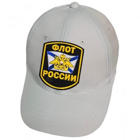 Белая бейсболка с нашивкой Флот России