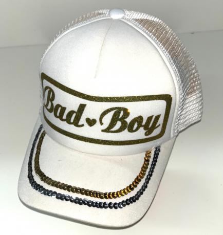 Белая бейсболка с сеткой и пайетками от Bad Boy