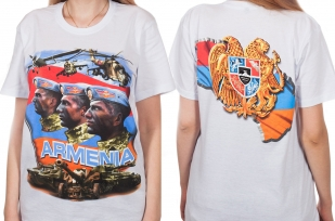 РАЗДАЕМ мужские подарки! Белая футболка Армения – непобежденный поражениями народ. Спеши купить к 23 февраля по акционной цене!