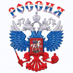 Белая футболка Россия - цветной принт