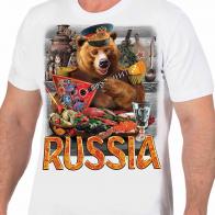 """Белая футболка """"Россия"""" с медведем"""