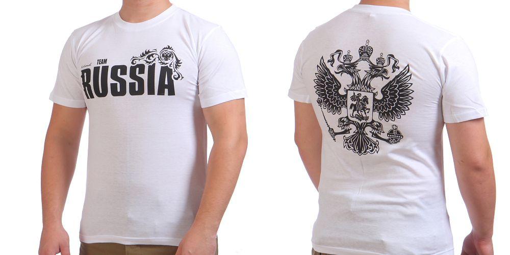 Белая футболка «RUSSIA»