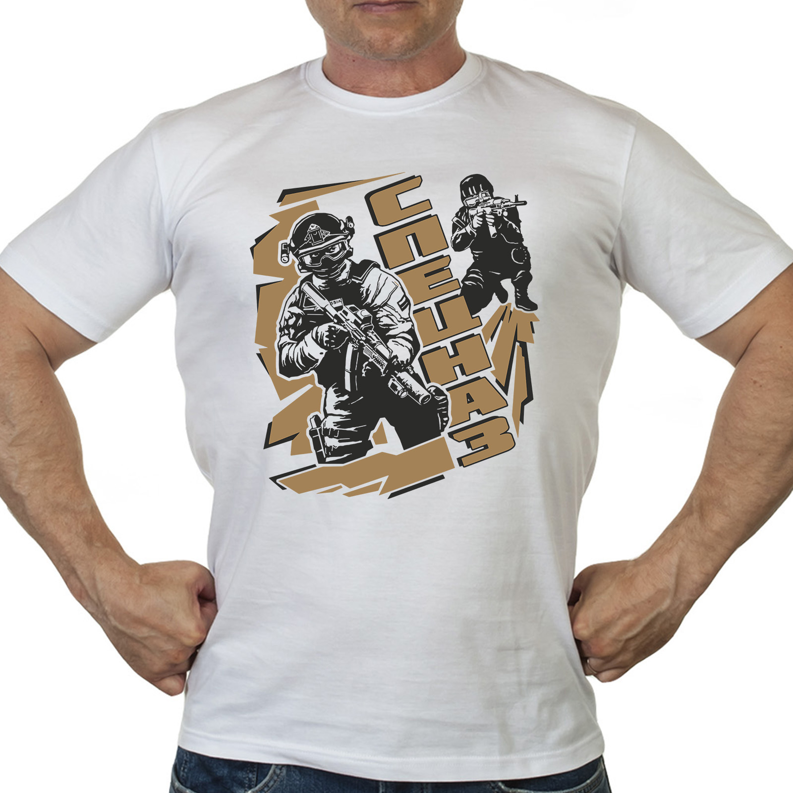 Мужская белая футболка с крутым принтом Спецназ