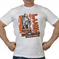 Крутая белая футболка с оригинальным принтом ГСВГ