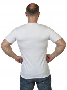 Крутая белая футболка с оригинальным принтом ГСВГ высокого качества