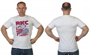 Стильная белая футболка с принтом ВКС - купить в Военпро