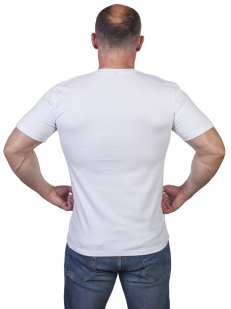 """Белая футболка с вышивкой """"Флот России"""" - купить выгодно"""