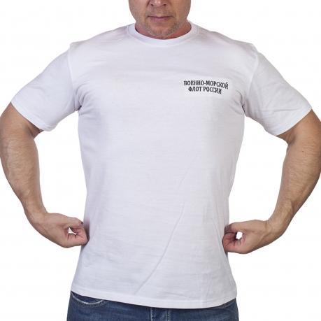 """Белая футболка с вышивкой """"Военно-морской флот России"""""""