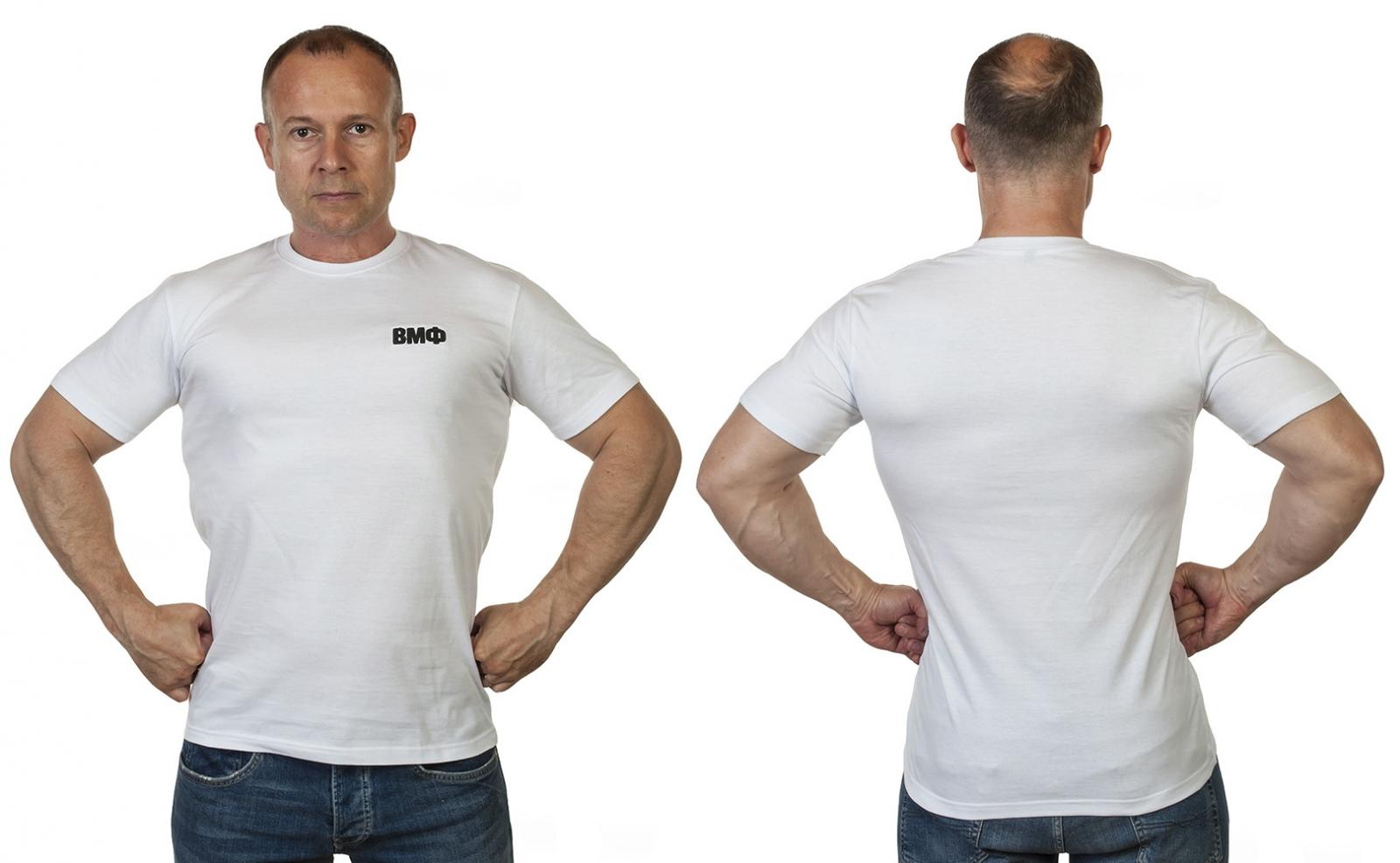 Белая футболка ВМФ с вышивкой на груди с доставкой